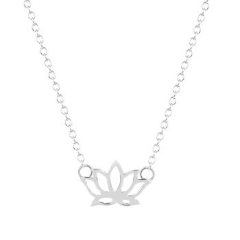 Collar flor lotus plata