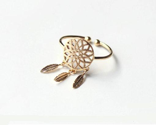anillo atrapa suenos dorado