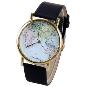 reloj mapamundi negro