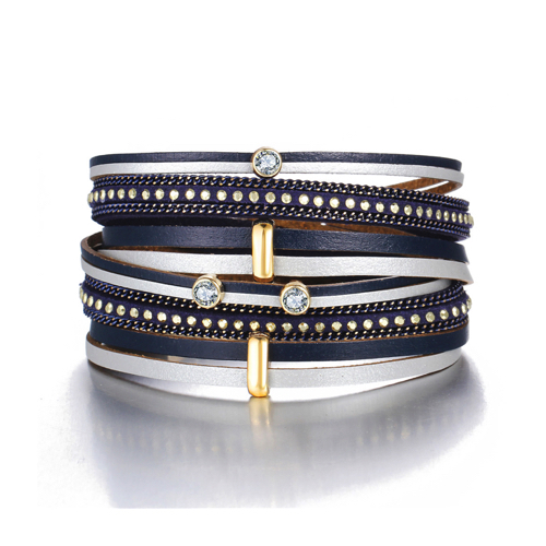 pulsera cuero azul mujer