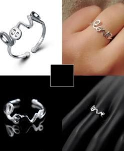 anillo love plata mujer