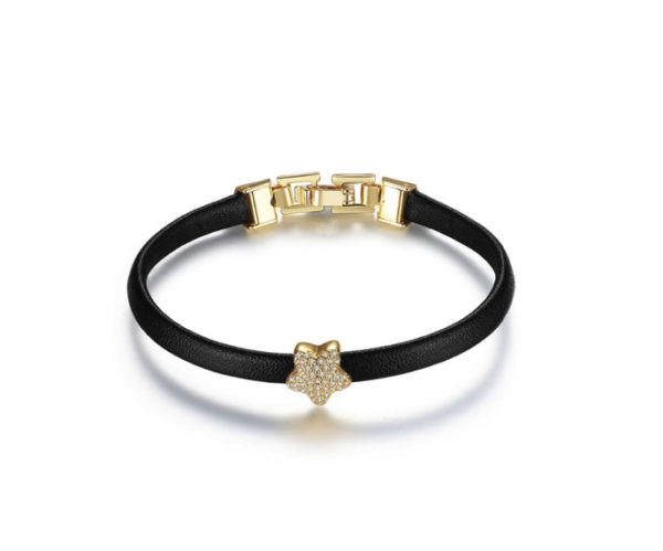 pulsera mujer cuero dorada