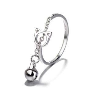 anillo gato plata