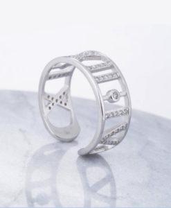 anillo plata numeros romanos