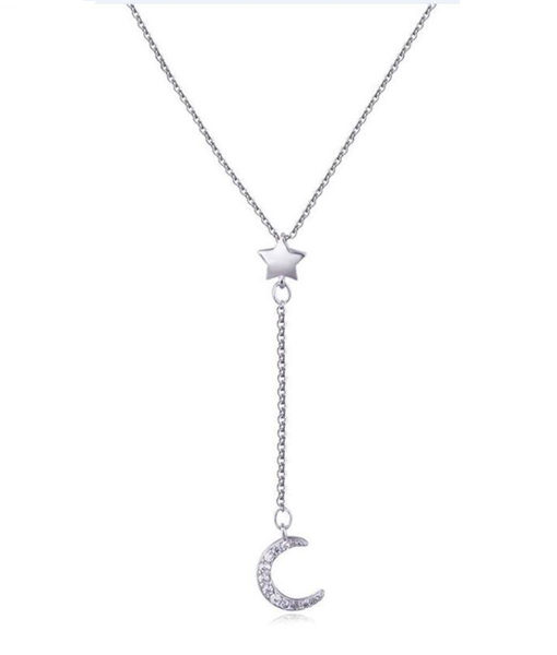 collar luna estrella plata