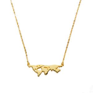 collar mapamundi oro