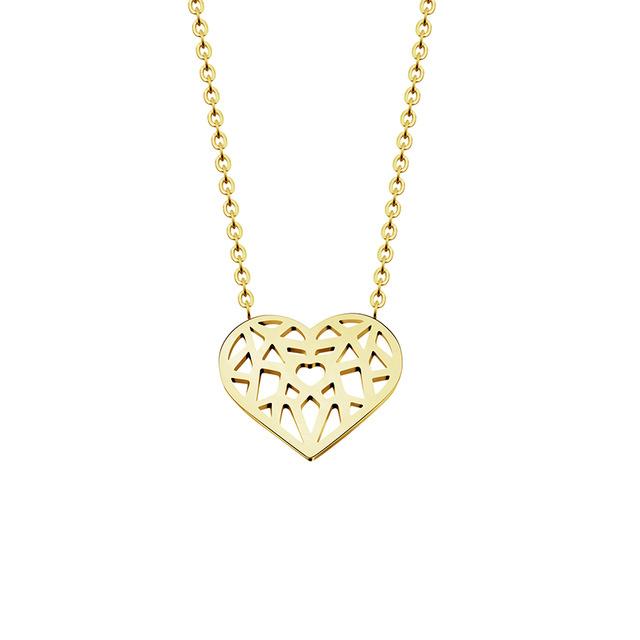 collar corazon dorado