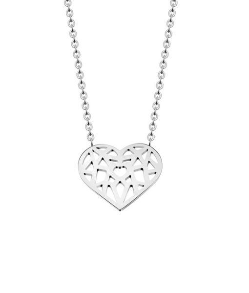 collar corazon plateado