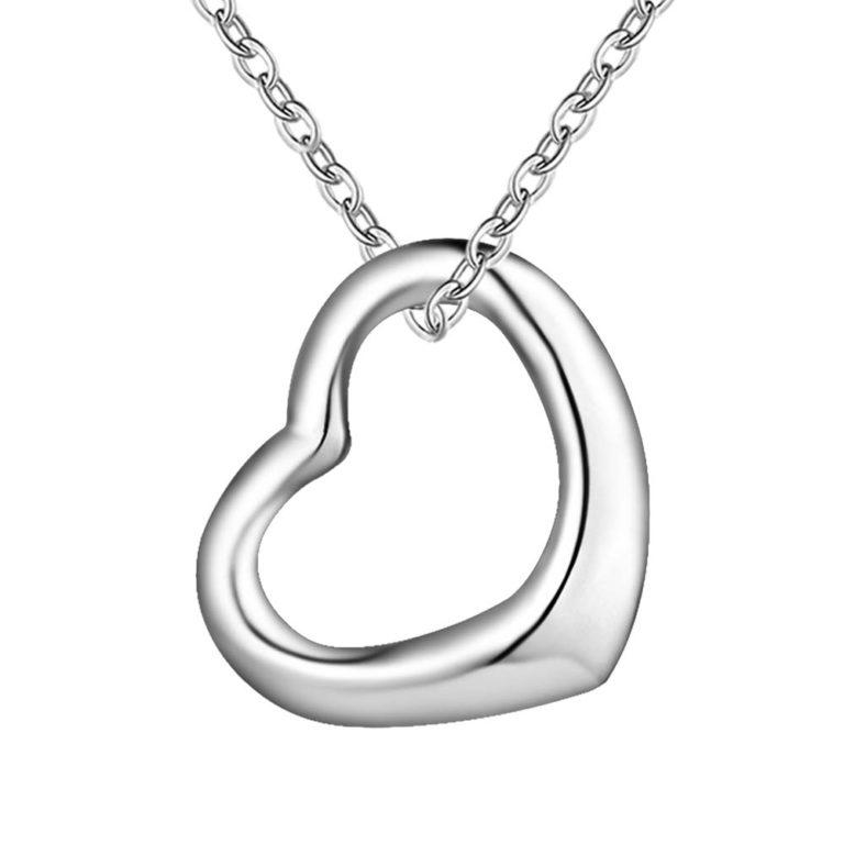 collar colgante corazon plata