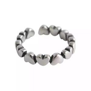 anillo corazones plata 925