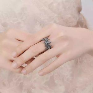 anillo estrellas plata 925