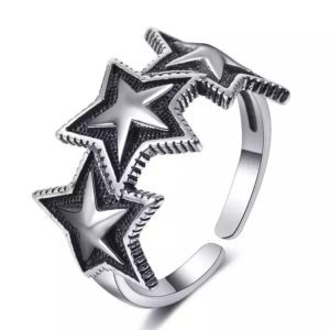 anillo estrella plata de ley