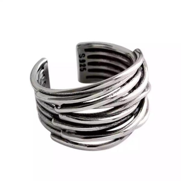 anillo grande plata tendencia