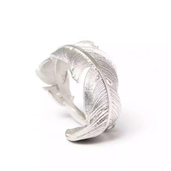 anillo pluma plata regalo mujer