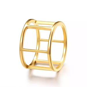 anillo acero dorado mujer