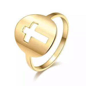 anillo cruz original mujer
